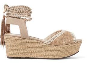 Schutz Pamela Canvas And Raffia Platform Espadrille Sandals