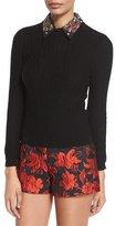 Alice + Olivia Brooke Embellished-Collar Sweater