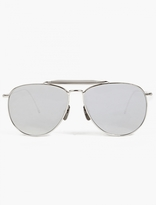 Thom Browne Silver Tb-015 Limited Edition Aviator Sunglasses