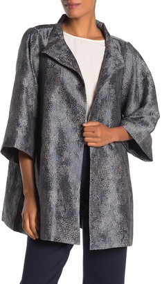 Eileen Fisher Patterned 3/4 Sleeve Jacket
