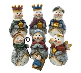 Kurt Adler 6-inch Resin Snowman Nativity Table piece, 7 pieces