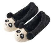 Heydo Winter Soft Bottom Panda Plush Indoor Home Slippers for Adult Children Knitting Home Shoes