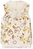 Tory Burch Layered Organza Embroidered Bow Top