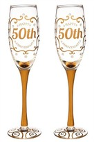 """Evergreen Champagne Flutes """"50th Anniversary"""" - Set of 2"""