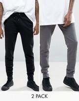 Asos 2 Pack Super Skinny Joggers Black/Gray SAVE
