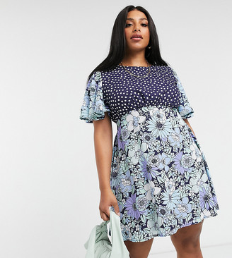 Twisted Wunder Plus mini dress in floral spot mix