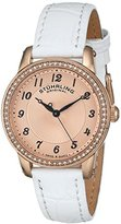 Stuhrling Original Women's Quartz Watch with Rose Gold Dial Analogue Display and White Leather Strap 651.03