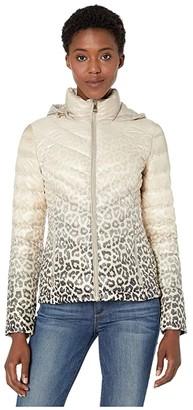 Calvin Klein Short Down Packable with Chevron Quilt Lines (Latte Cheetah) Women's Coat