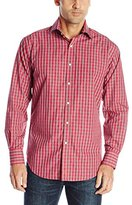 Thomas Dean Men's 2 Button Spread Collar Poplin Check with Fil Coupe Shirt