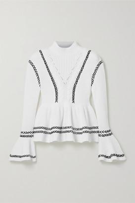 Self-Portrait Whipstitched Cotton Peplum Sweater