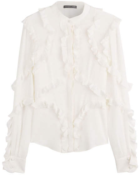Alexander McQueen Silk Blouse with Ruffle Trim
