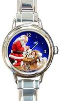 Basket Hill Watches and Gifts Christmas Santa Watching Jesus on a Girls Round Silver Italian Charm Watch.. Think Small Wrist