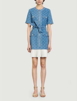 Sandro Kayle jacquard-print denim and crepe mini dress