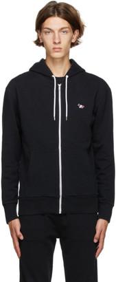 MAISON KITSUNÉ Black Tricolor Fox Zip-Up Hoodie