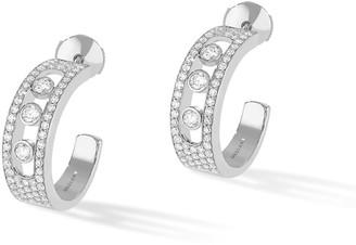 Messika Move Jo Medium 18k White Gold 3-Diamond & Pave Hoop Earrings