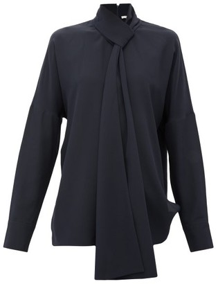 Tibi Pussy-bow Silk Crepe-de-chine Blouse - Womens - Navy
