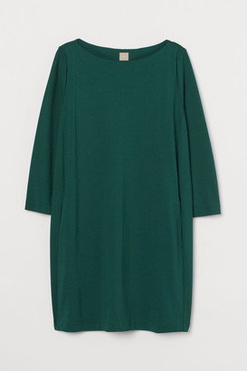 H&M H&M+ Boat-neck Jersey Dress - Green