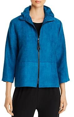Caroline Rose Faux-Suede Cropped Zip Jacket
