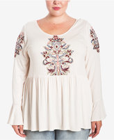 Eyeshadow Trendy Plus Size Embroidered Peasant Top