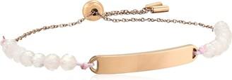 Fossil Women's Plaque Rose Quartz Bangle Bracelet