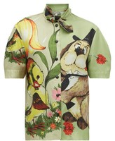 Symonds Pearmain - Dog-print Silk-satin Shirt - Womens - Multi