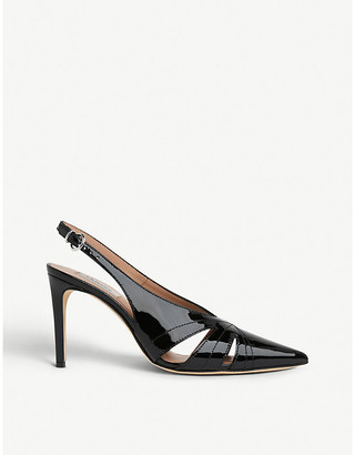 LK Bennett Helena cut-out patnent-leather courts