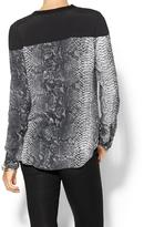 Rebecca Taylor Python Blouse With Solid Blocking