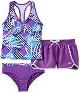 ZeroXposur Girls 7-16 Mesh Racerback Tankini Top, Bottoms & Dolphin Shorts Swimsuit Set