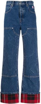 Alexander Wang Checkered-Trim High-Rise Flared Jeans
