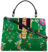 Gucci Medium Sylvie Floral Print Bag with Top Handle - women - Leather/Silk Satin/metal - One Size