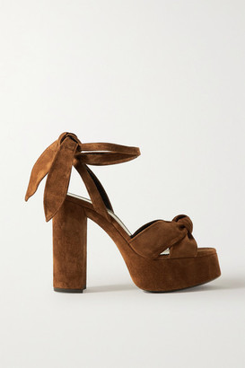 Saint Laurent Bianca Knotted Suede Platform Sandals - Brown
