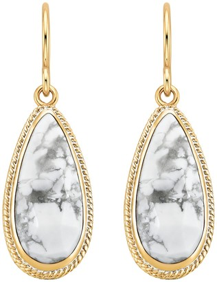 Anna Beck 18K Gold Plated Sterling Silver Howlite Long Drop Earrings
