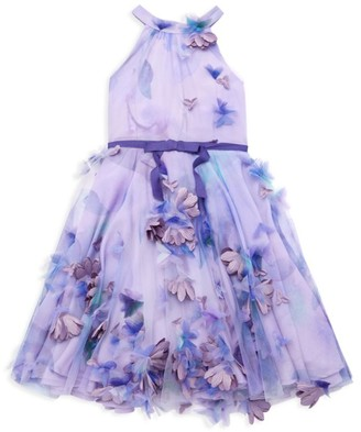 Marchesa Notte Mini Little Girl's & Girl's 3D Floral Halter Dress