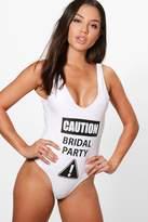 boohoo Malta Caution Bridal Party Slogan Scoop Swimsuit