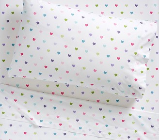 Pottery Barn Kids Organic Multicolored Heart Sheet Set & Pillowcases