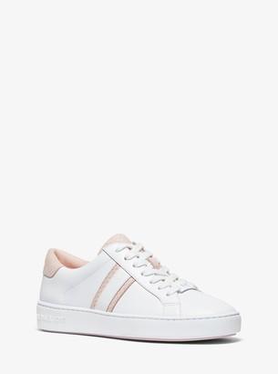 MICHAEL Michael Kors Irving Snake-Embossed Leather Stripe Sneaker
