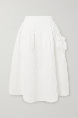 Simone Rocha Ruffled Cloque Midi Skirt - White