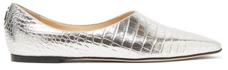 Jimmy Choo Joselyn Crocodile-effect Leather Ballet Flats - Silver