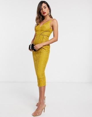 ASOS DESIGN lace midi dress with ladder trim detail