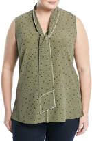 Lafayette 148 New York Dana Sleeveless Tie-Neck Silk Blouse, Plus Size