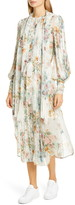 Zimmermann Wavelength Long Sleeve Floral Silk Midi Dress