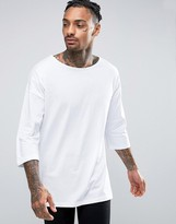 Asos Oversized 3/4 Sleeve T-Shirt With Boat Neck In White