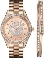 JBW Women's J6303-SetC Mondrian Jewelry Set 0.16 ctw 18K Rose -Plated Stainless Steel Diamond Watch