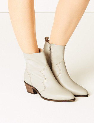 Marks and Spencer Leather Block Heel Western Boots