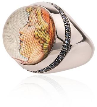 Francesca Villa 9k white gold Cicely Mary Barker sapphire ring