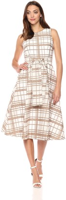 Calvin Klein Women's Sleeveless Plaid Fit and Flare with Self Sash Dress