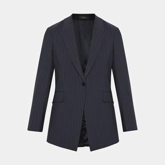 Theory Good Wool Pinstripe Long Blazer