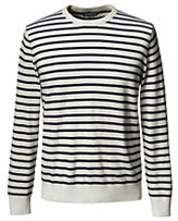 Classic Men's Breton Stripe Cashmere Crewneck Sweater-Charcoal Heather