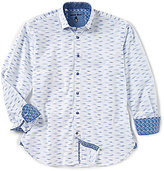 Visconti Big & Tall Jacquard Stitch Long-Sleeve Woven Shirt