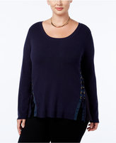 INC International Concepts Plus Size Lace-Up Sweater, Only at Macy's